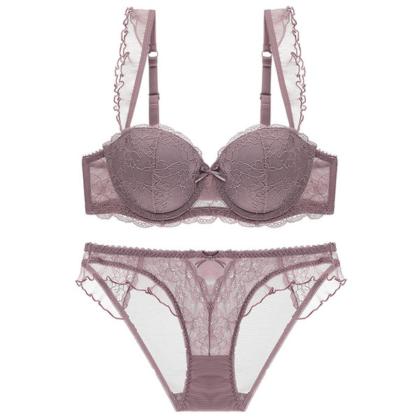 French style sexy Hollow out Wire Bras for women Gathered Lace lingerie  glaze Can insert push up Bra set e81e55d18