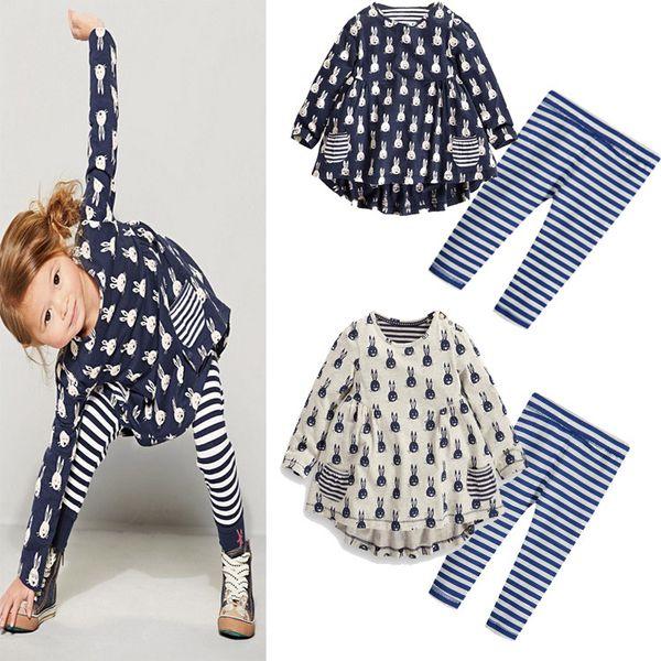 Baby Girls Clothing Sets Cute Toddler Cartoon Rabbit Print Pocket Dress Striped Leggings 2pcs/set Kids Clothing Set LA632