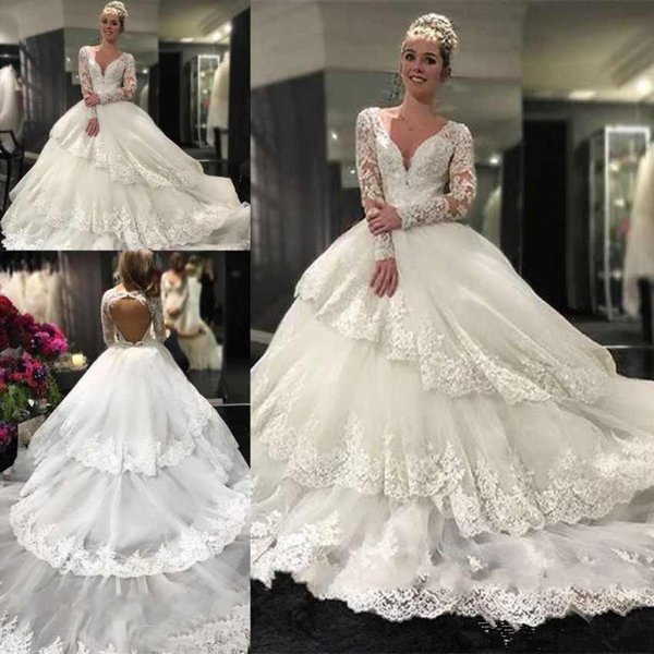 Gorgeous Ball Gown Wedding Dresses Long Sleeves V Neck Lace Appliques Beads Tiered Skirts Bride Gowns Court Train Plus Size Wedding Dress
