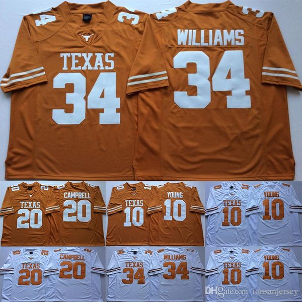 10 Vince Young Texas Longhorns College-Trikots 20 Earl Campbell 34 Connor Williams Herren-Trikot