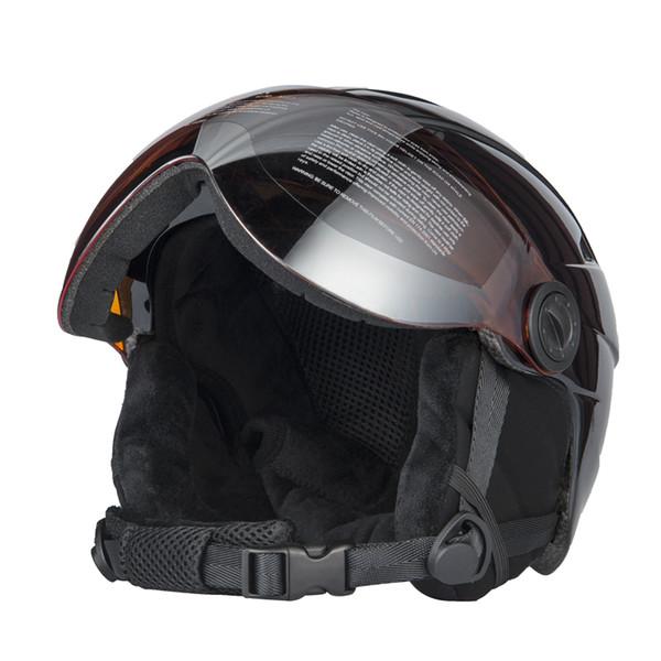 Casco de esquí integral de alta calidad con gafas de esquí semicubiertas Gafas protectoras CE Deportes al aire libre Snowboard Negro