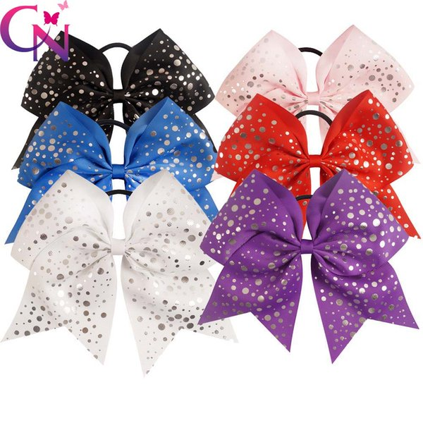 30 Pcs /Lot 7.5 High Quality Handmade Large Sliver Dots Cheer Bow For Girls Kids Children Cheerleading Hair Bow Hair Accessories Headwear