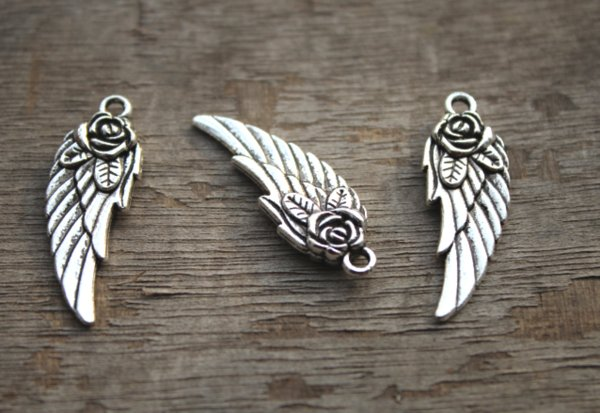 15pcs/lot--Wing charms,Antique Tibetan Silver Tone Steampunk Angel Rose Wing charm pendants,flowers wing 11x31mm