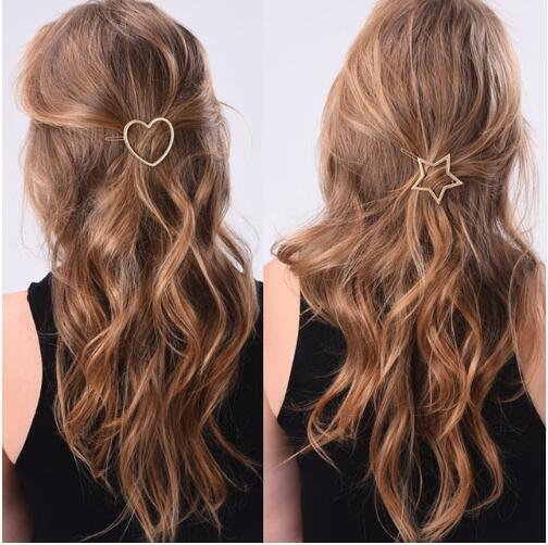 1 pcs Fashion Women Hairpins Girls Star Heart Hair Clip Delicate Hair Pin Hair Decorations Jewelry Accessories