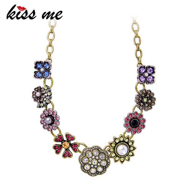 KISS ME Fashion Necklaces for Women 2018 Latest Crystal Flower Chunky Necklace Zinc Alloy Vintage Jewelry Accessories