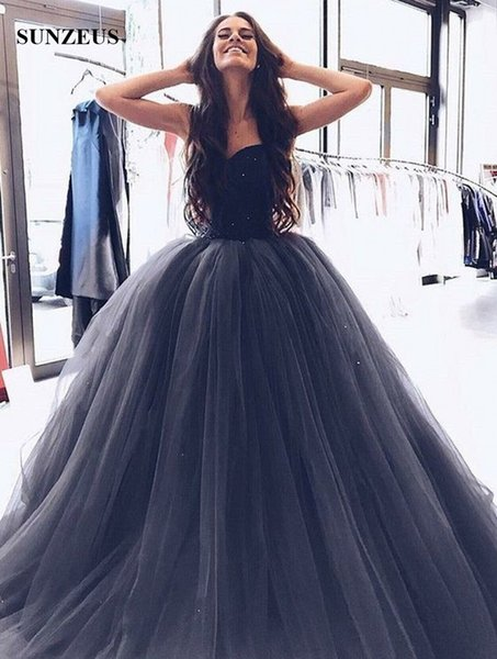 Navy Blue Velvet Evening Dresses Long Puffy Tulle Formal Gowns With Sparkle Sequins Ball Gown Sweetheart Women Party Gowns Dropped Waist