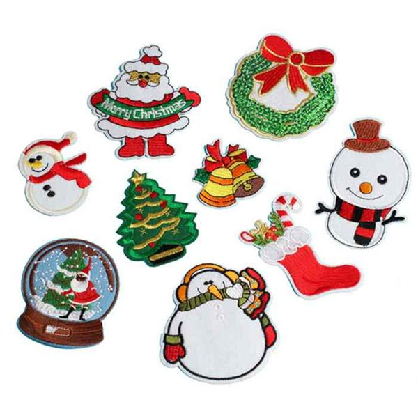 9Styles Christmas Series Iron On Cloth Patch Embroidery Patches Fabric Badge Stickers For Shoes Jeans Decoration Bag Hat Garment Accessories