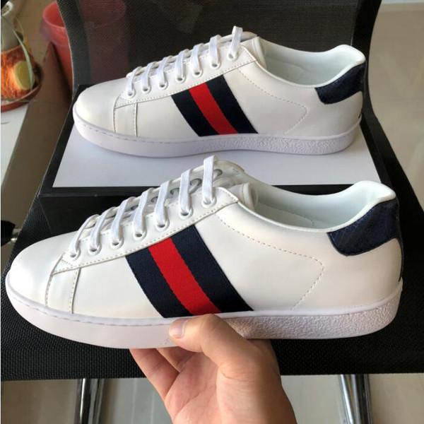 La mejor calidad zapatos de diseñador ACE blanco Deportes franja azul rojo Diseñador de cuero genuino Web Sneaker marca de lujo para mujer para hombre zapatos casuales