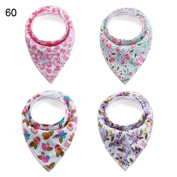 4pcs/set baby floral bibs Burp Cloths new infants girls boys double layer Pure cotton waterproof s Bandana Bib