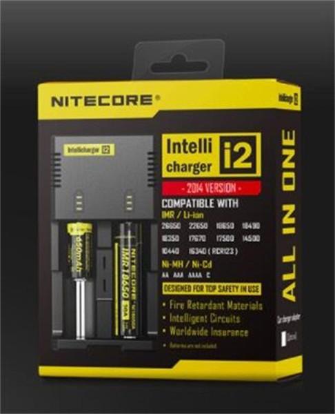 Caricabatterie universale Nitecore I2 di alta qualità per 16340 18650 14500 26650 Batteria E Cig 2 in 1 Muliti Funzione Intellicharger ricaricabile DHL