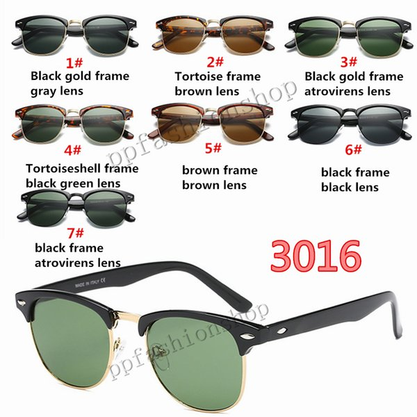 Marque Design lunettes de soleil 2019 New Half Frame Lunettes De Soleil En Verre Femmes Hommes Club Master Lunettes De Soleil À L'Extérieur Des Lunettes De Conduite Uv400 Lunettes