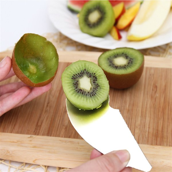 New 2 in 1 Stainless Steel kiwi spoon knife Scoop fruit slicer kiwi Peeler Cutter Fruit & Vegetable Tools kitchen accessories