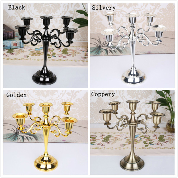 European Antique 5-arms Retro Candle Holder Romantic Candlelight Dinner Home Furnishing Hotel Wedding Decoration 4 Colors