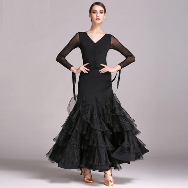 черный бальный танец платья стандартный бальные танцы одежда конкурс стандартный танец платье вальс современное платье Фокстрот