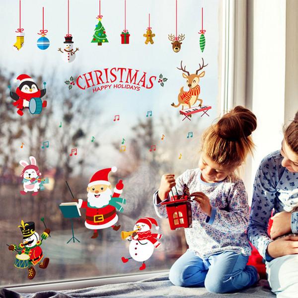 Inicio Feliz Navidad.Compre Feliz Ano Nuevo Feliz Navidad Papa Noel Pegatinas De Pared Inicio Tienda Windows Decoracion Wallpaper Envio Gratis A 5 03 Del Kity12
