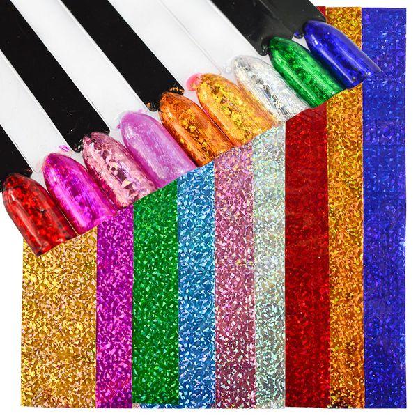 9 Color Holographic Shiny Foils Nail Art Transfer Foils Set Holo Glitter Manicure Sticker Tips Laser Eye Cat Designs CH488