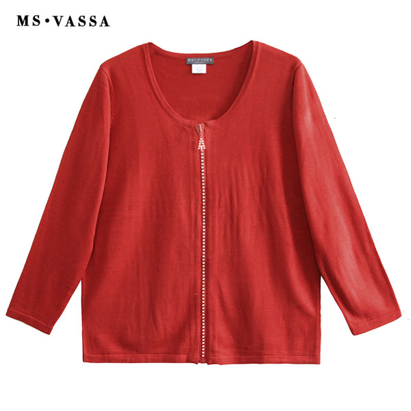 MS VASSA Women Red Sweaters Ladies Jumpers Long Sleeve Stylish Winter 2018 New Autumn Cardigans Oversized Zipper