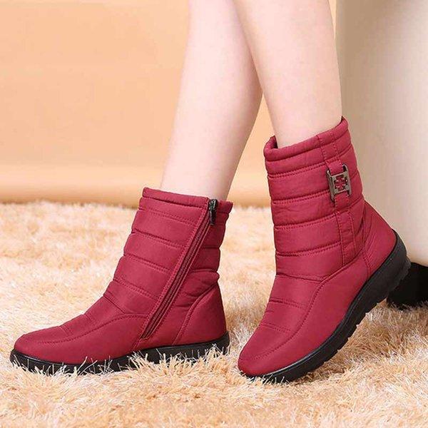 Плюс размер снега сапоги женские зимние сапоги плюс мех согреться нескользящие женские сапоги 2018 водонепроницаемый повседневная женская обувь