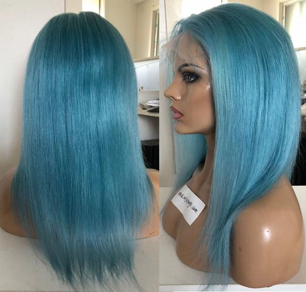 10A The Best quality blue full lace wig silky straight virgin brazilian hair 130 density lace front human hair wig free shipping