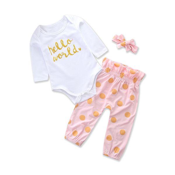 Ropa de bebé recién nacido manga larga mameluco + lunares pantalones largos  diadema 3 piezas niñas adf1cdceaf3