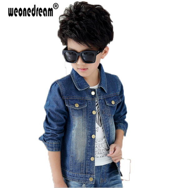 top popular WEONEDREAM Spring Autumn Children's Jacket Denim Boys Jean Jackets Girls Kids Clothes Baby Coat Casual Outerwear Size 90-170cm Y18102607 2019