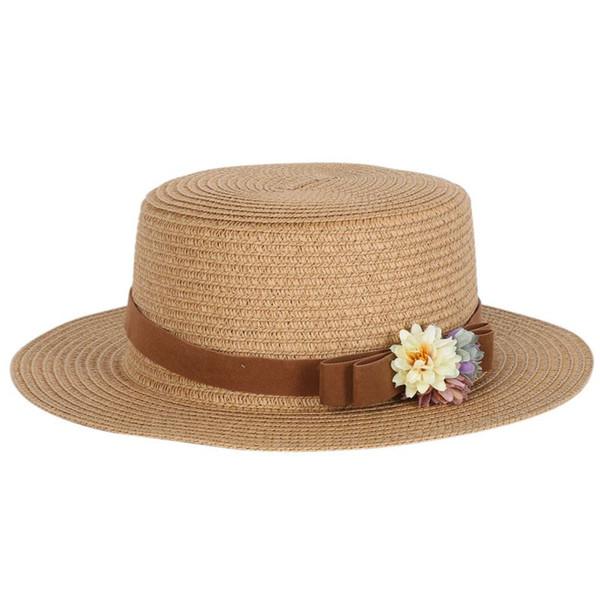 Casquette de plage à bord large pour femme Trilby Fedora - Seau de paille Bowknot - Chapeau de soleil Femme