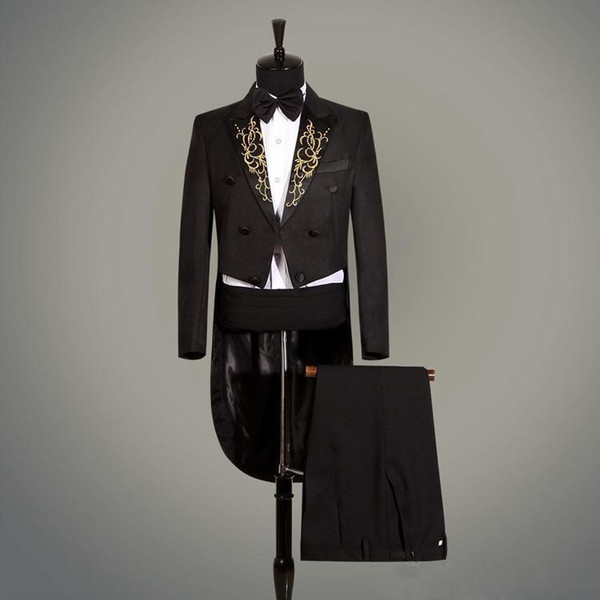 Cool Peak Embroidery Lapel Groomsmen Double-Breasted Groom Tailcoat Men Suits Wedding/Prom/Dinner Best Man Blazer(Jacket+Pants+Tie+Girdle)