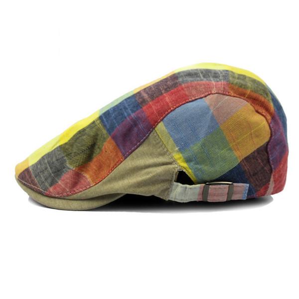2018 Color Lattice Cap Hat Beret Hat Adjustiable tapa superior plana Beret Cap para mujer hombre