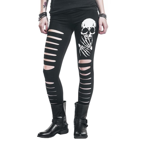 2018 New Fashion Skull Printed Hollow Hole Women Leggings Woman Pants high quality