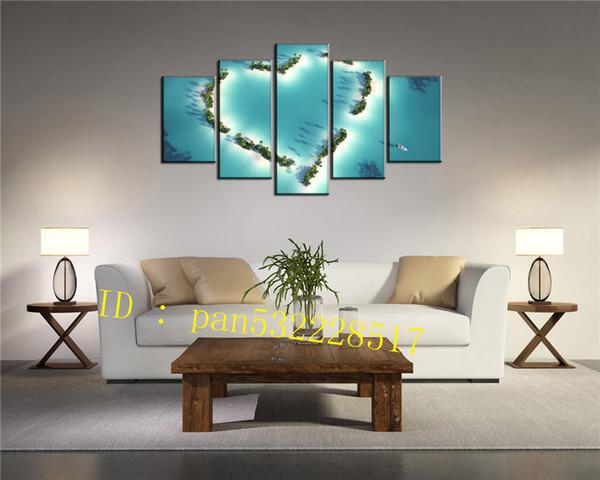 Ilha do coração 5 Peças Cópias Da Lona Arte Da Parede Pintura A Óleo Home Decor / (Sem Moldura / Emoldurado)