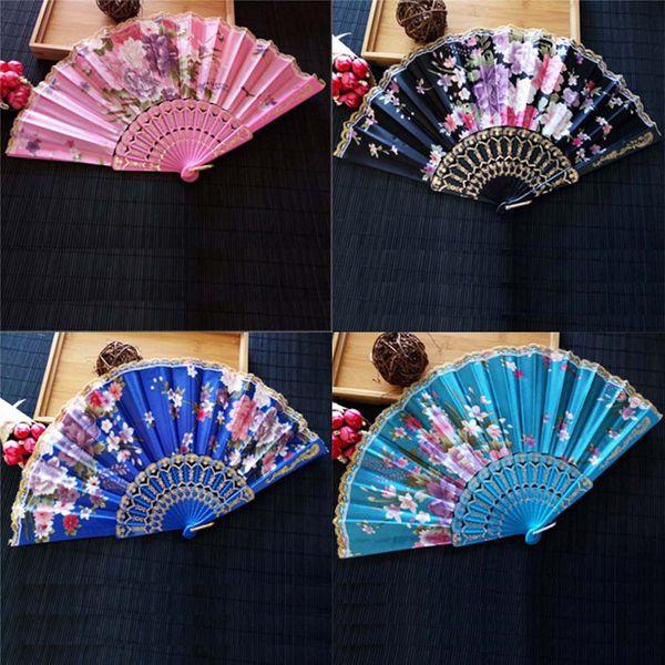 Ventilador de Dobramento do vintage Novo Chinês Fontes Do Partido Japonês Para O Presente de Natal Mão De Renda De Seda De Plástico Flor Dança Fãs Presentes Agradáveis