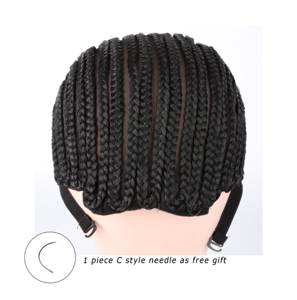Black Crochet Synthetic Braids Wig Cap For Making Wigs With Adjustable Strap Glueless Weaving Caps Hairnet