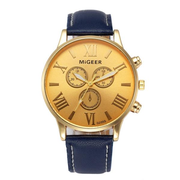2019 nova marca de ouro mens relógios top marca de luxo pu relógio de pulso de couro dos homens presente relógio de quartzo com desconto relogio masculino