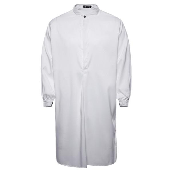 4 feste Farben muslimischen Smock Shirt Männer kleiden Langarm insgesamt Sweatshirt Sagum Casual arabische Robe Staubmantel Djellaba Abaya für Mann M ~ XXL