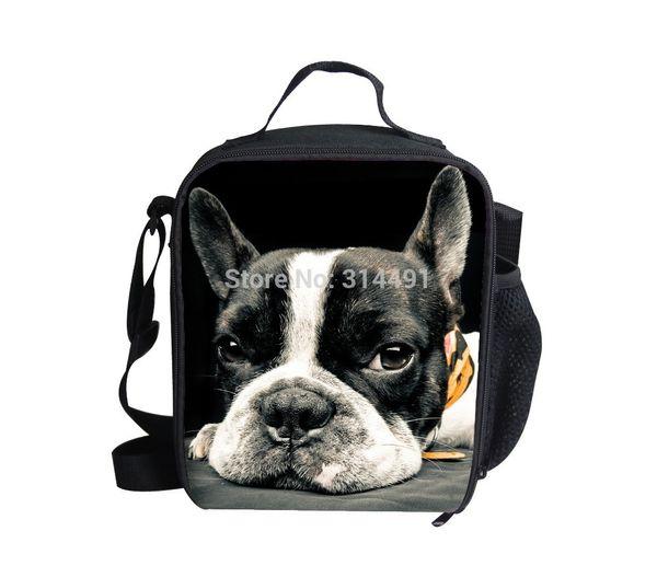 FORUDESIGNS new design animal lunch bags kids bad dog print thermal lunchbox Christmas gift children crossbody picnic cooler bag