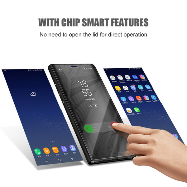 Smart Flip Stand Phone Case For Samsung S8 S8 Plus case Smart Clear Mirror View Cases For Samsung Galaxy S6 S7 Edge Phone Cover