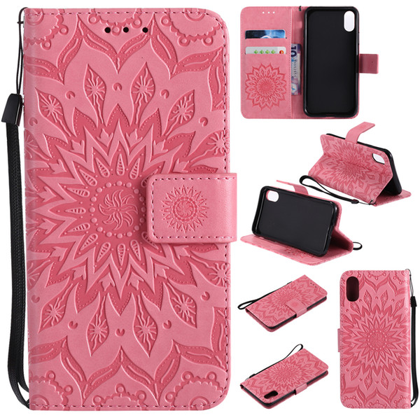 Coining Texture Sunflower Pattern Leather Wallet phone Cases for iPhone X 8 7 Note 8 S8 Huawei P20 Wallet Pouch With Card Slot