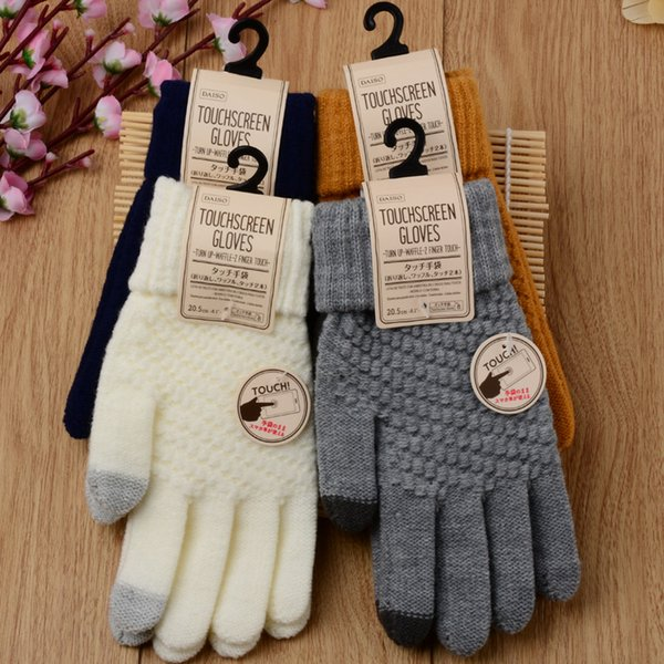 Hot style jacquard gloves winter thermal touch screen gloves touch knitted lover wholesale women men