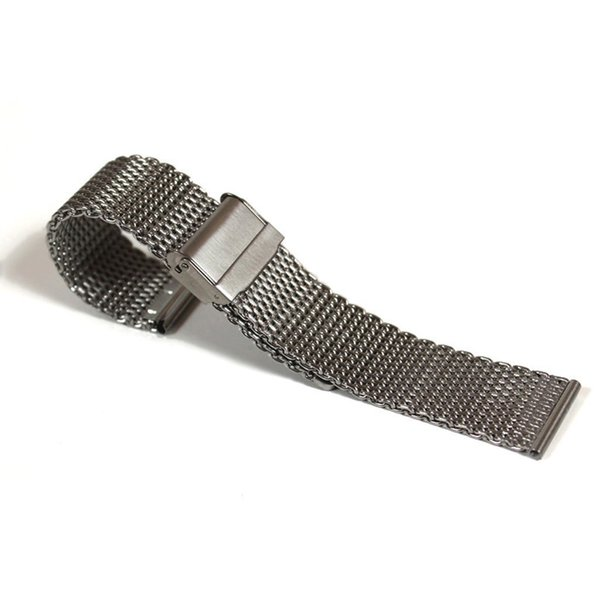 Silver-Tone Stainless Steel Mesh Watch Band 20mm