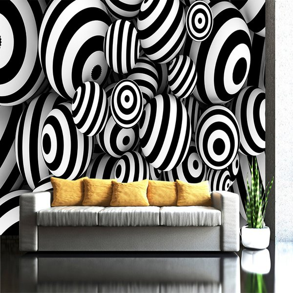 3D White Black Geometric Circle Stripe Customized Wallpaper Art Poster Canvas Mural Bedroom Living Room Large Wall Decor Home Decoration