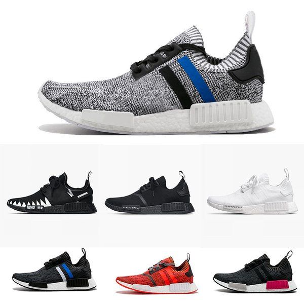 super popular 81d55 1d1aa WITH BOX Wholesale NMD R1 R2 Primeknit PK Men Running Shoes Jopan Triple  Black White Camo NMD Runner R1 Primeknit Sneakers Sports Shoes Girls  Running ...