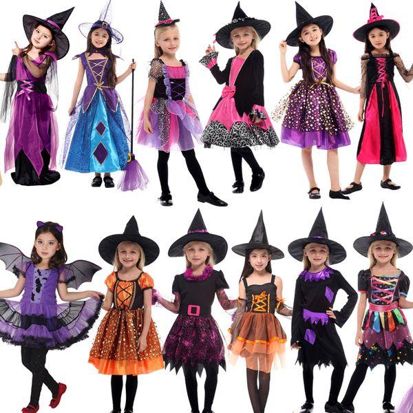 2018 HOT SellingHalloween costume for Children witch Costume Girl fancy dress Hat Fantasia Infantil Carnival Party kid christmas