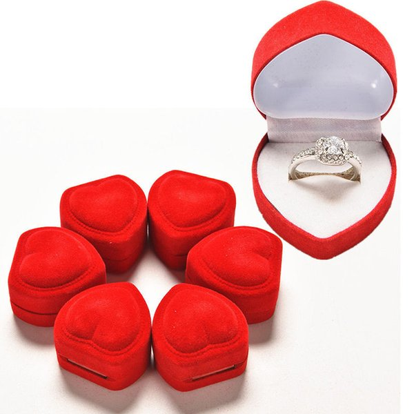 5pcs/Set Mini Cute Red Carrying Foldable Case Display Jewelry Box Packaging Durable Red Heart Shaped Lid Open Velvet Ring Box