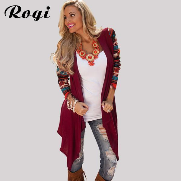 Rogi Long Cardigan Women 2018 Fashion Long Sleeve Aztec Striped Knitted Sweater Coat Asymmetrical Shirt Outerwear Poncho Women