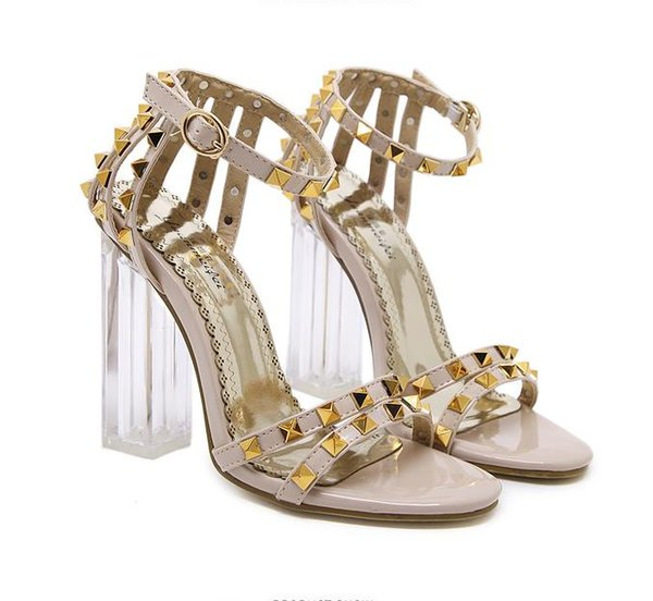 luxury designer shoes rivets PVC transparent crystal thick heel shoes ankle strappy sandals size 34 to 40