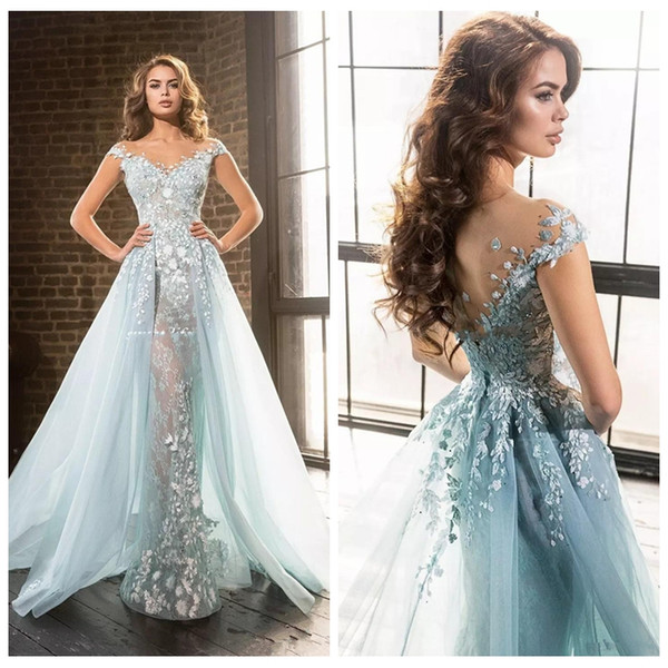 2018 Beautiful Ice Blue Elie Saab Overskirts Prom Dresses Arabic Mermaid Sheer Jewel Lace Applique Beads Tulle Formal Evening Party Gowns