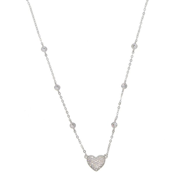 Fine 925 Sterling Silver I Love Hockey Open Heart CZ Necklace