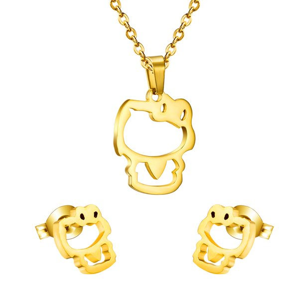 whole saleHot Cute Cartoon Cat Pendant Necklace(Free Chain) Earrings Set Jewelry Accessories For GirlFriend Gift, Gold/ Silver