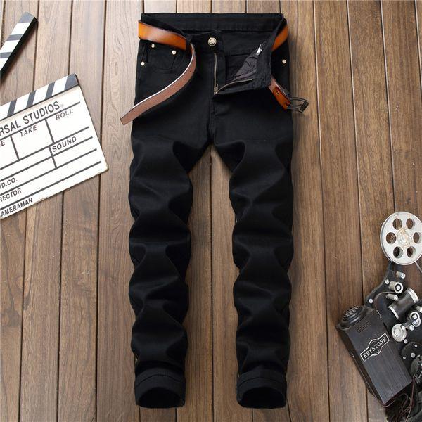 2018 European American Style fashion brand Biker Casual Cargo Pants Hombre Joggers Black Denim Jeans Homme Masculina 8901#