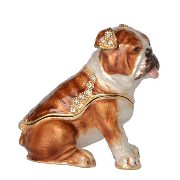 Enameled Pewter Ornament Crystal Bejeweled Bulldog Trinket Box Cute Gift for Dog Lover Animal Figurine Sculpture Miniature